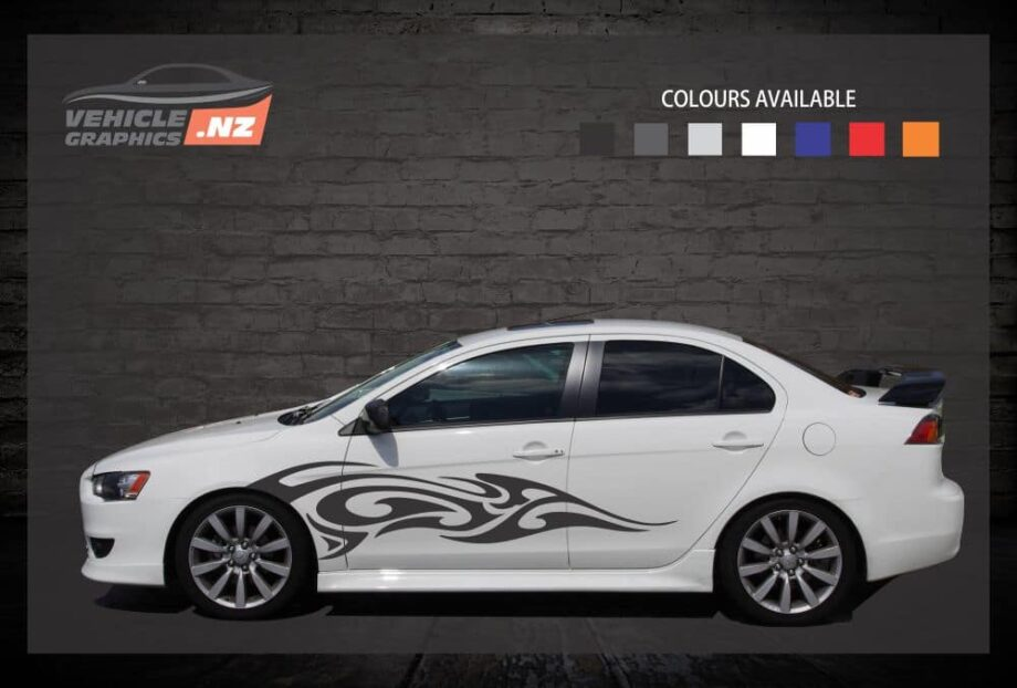 Flames Side Stripes Car Decals